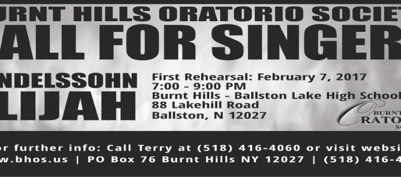 Call for Singers – Mendelssohn's Elijah